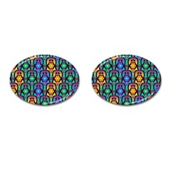 Pattern Background Bright Blue Cufflinks (oval) by Sapixe