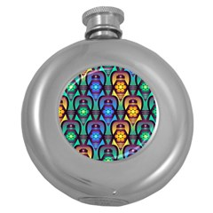 Pattern Background Bright Blue Round Hip Flask (5 Oz) by Sapixe