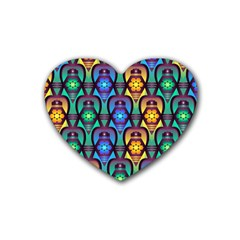 Pattern Background Bright Blue Heart Coaster (4 Pack)  by Sapixe