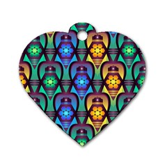 Pattern Background Bright Blue Dog Tag Heart (two Sides) by Sapixe