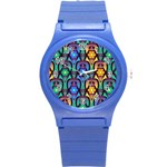 Pattern Background Bright Blue Round Plastic Sport Watch (S) Front