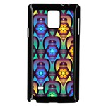 Pattern Background Bright Blue Samsung Galaxy Note 4 Case (Black) Front