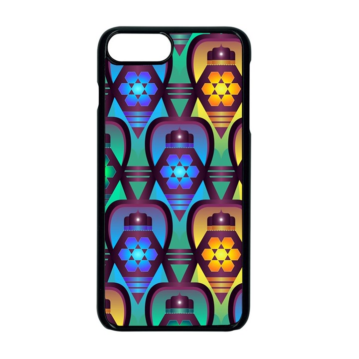 Pattern Background Bright Blue Apple iPhone 8 Plus Seamless Case (Black)