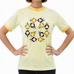 Pattern Circular Birds Women s Fitted Ringer T-Shirts