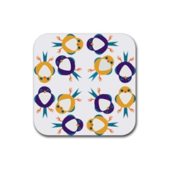 Pattern Circular Birds Rubber Coaster (square)  by Sapixe