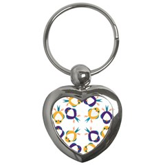 Pattern Circular Birds Key Chains (heart)  by Sapixe