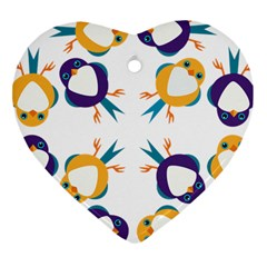 Pattern Circular Birds Heart Ornament (Two Sides)