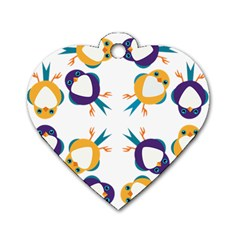 Pattern Circular Birds Dog Tag Heart (Two Sides)
