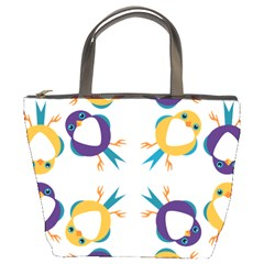 Pattern Circular Birds Bucket Bags by Sapixe