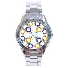 Pattern Circular Birds Stainless Steel Analogue Watch