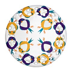 Pattern Circular Birds Round Filigree Ornament (Two Sides)