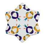 Pattern Circular Birds Snowflake Ornament (Two Sides) Back