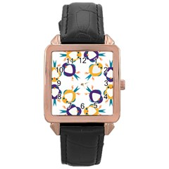 Pattern Circular Birds Rose Gold Leather Watch