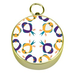 Pattern Circular Birds Gold Compasses