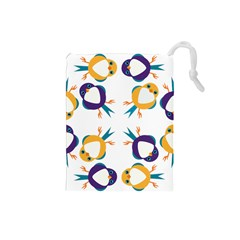 Pattern Circular Birds Drawstring Pouches (Small)