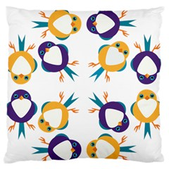 Pattern Circular Birds Large Flano Cushion Case (One Side)