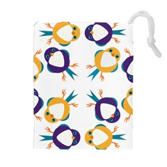 Pattern Circular Birds Drawstring Pouches (extra Large) by Sapixe