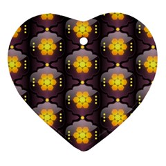 Pattern Background Yellow Bright Ornament (Heart)