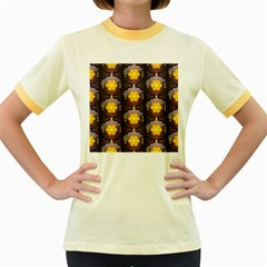 Pattern Background Yellow Bright Women s Fitted Ringer T Shirts
