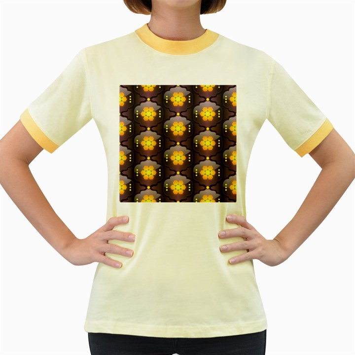 Pattern Background Yellow Bright Women s Fitted Ringer T-Shirts