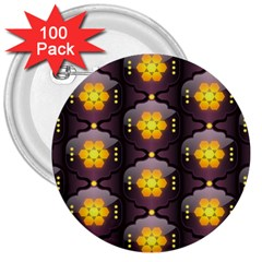 Pattern Background Yellow Bright 3  Buttons (100 pack)