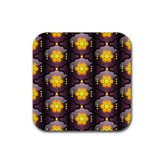 Pattern Background Yellow Bright Rubber Square Coaster (4 pack)