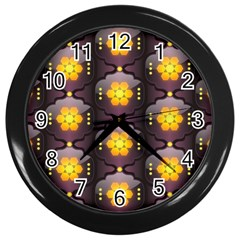 Pattern Background Yellow Bright Wall Clocks (black) by Sapixe
