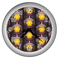 Pattern Background Yellow Bright Wall Clocks (Silver)