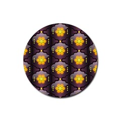 Pattern Background Yellow Bright Rubber Coaster (Round)