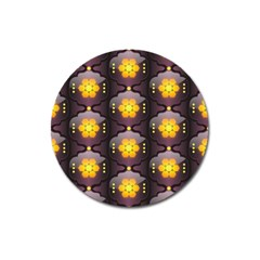 Pattern Background Yellow Bright Magnet 3  (Round)