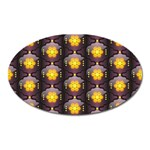 Pattern Background Yellow Bright Oval Magnet Front