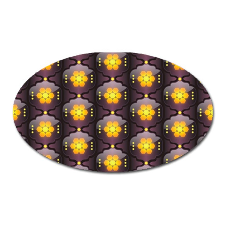 Pattern Background Yellow Bright Oval Magnet