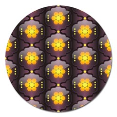 Pattern Background Yellow Bright Magnet 5  (Round)