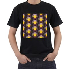 Pattern Background Yellow Bright Men s T-Shirt (Black) (Two Sided)