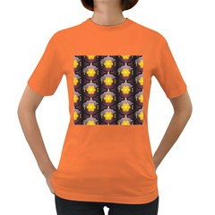 Pattern Background Yellow Bright Women s Dark T Shirt