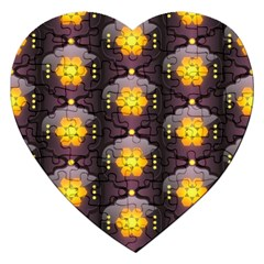 Pattern Background Yellow Bright Jigsaw Puzzle (Heart)