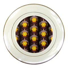 Pattern Background Yellow Bright Porcelain Plates
