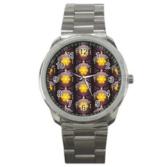 Pattern Background Yellow Bright Sport Metal Watch