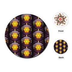 Pattern Background Yellow Bright Playing Cards (Round)
