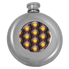 Pattern Background Yellow Bright Round Hip Flask (5 Oz) by Sapixe
