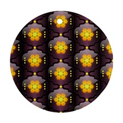 Pattern Background Yellow Bright Round Ornament (Two Sides)