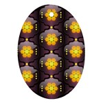 Pattern Background Yellow Bright Oval Ornament (Two Sides) Front