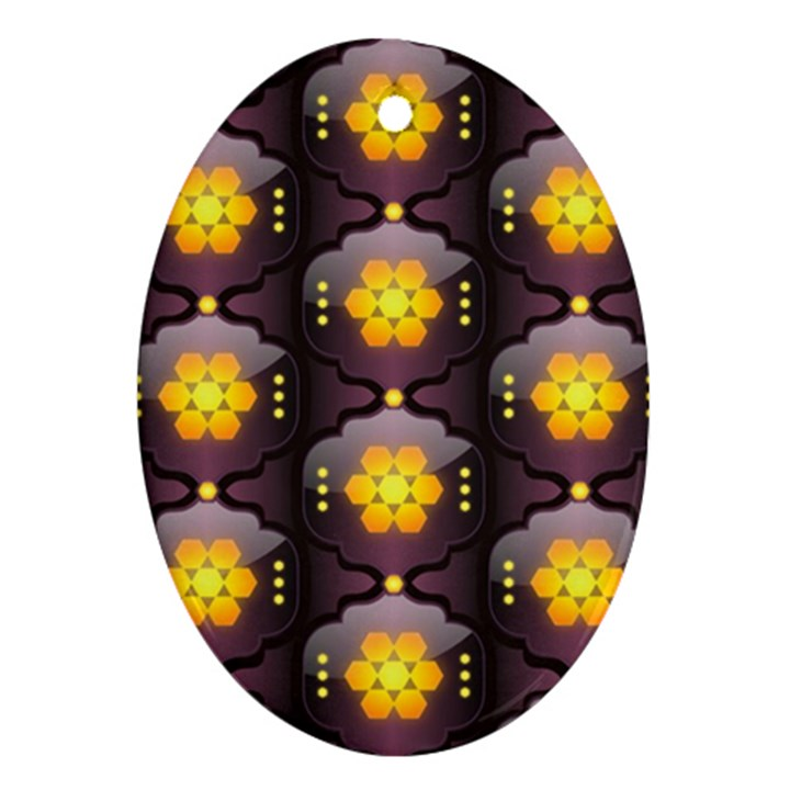 Pattern Background Yellow Bright Oval Ornament (Two Sides)