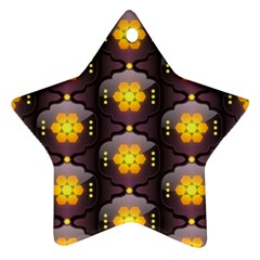 Pattern Background Yellow Bright Star Ornament (Two Sides)