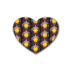 Pattern Background Yellow Bright Rubber Coaster (Heart)