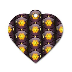 Pattern Background Yellow Bright Dog Tag Heart (Two Sides)