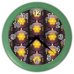 Pattern Background Yellow Bright Color Wall Clocks