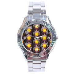 Pattern Background Yellow Bright Stainless Steel Analogue Watch