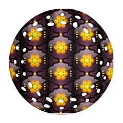 Pattern Background Yellow Bright Round Filigree Ornament (Two Sides)