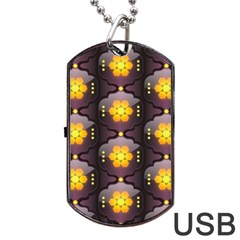 Pattern Background Yellow Bright Dog Tag USB Flash (Two Sides)
